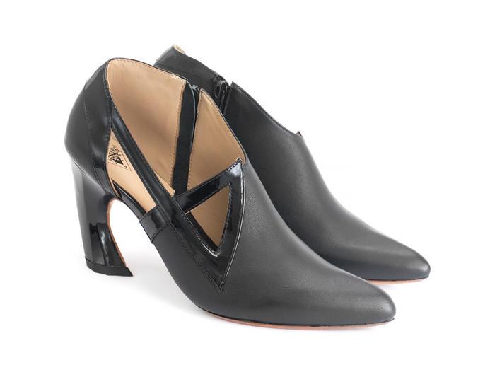 Sashay Black Asymmetric heel with cutouts
