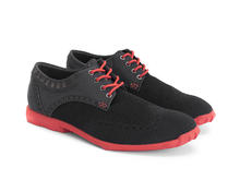 Orbit Noir/Rouge Derby à bout golf brogue