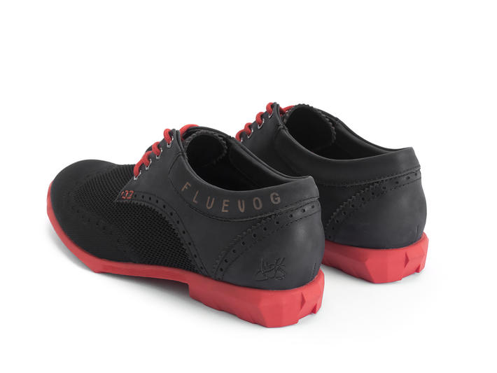 Orbit Black/Red Brogued Wingtip Derby