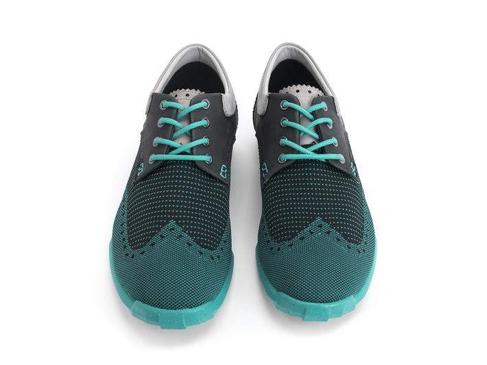 Orbit Teal Brogued Wingtip Derby