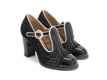 Tova Black Suede and patent t-strap heel