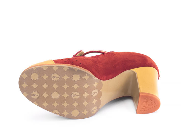 Tova Red Suede and patent t-strap heel