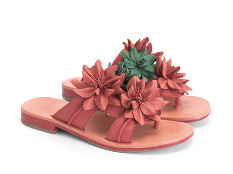 Madeira Red Flat sandal with leather flowers
