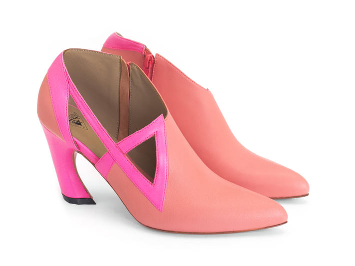Sashay Pink Asymmetric heel with cutouts