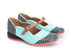 Sandra Black/Blue Rounded Toe Mary Jane Shoe