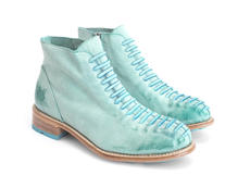 Babette: Women's Turquoise Ankle boot with faux laces