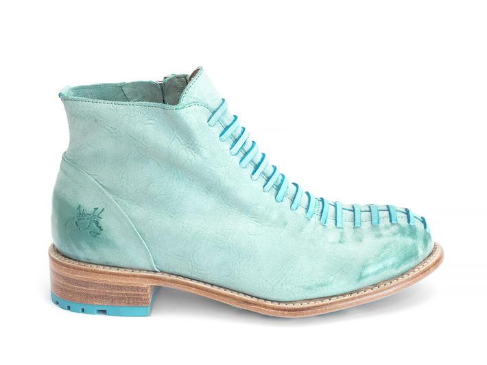 Babette : Femmes Turquoise Bottillon avec faux lacets