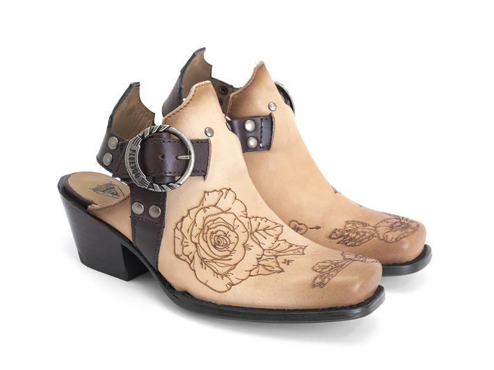 Loretta Natural/Tattoo Western slingback heel