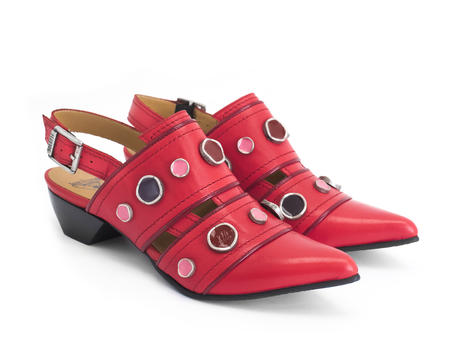 Serena Red Studded slingback shoe