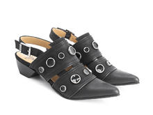 Serena Black Studded slingback shoe