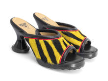 Dede Yellow Tiger Open toe mule heel