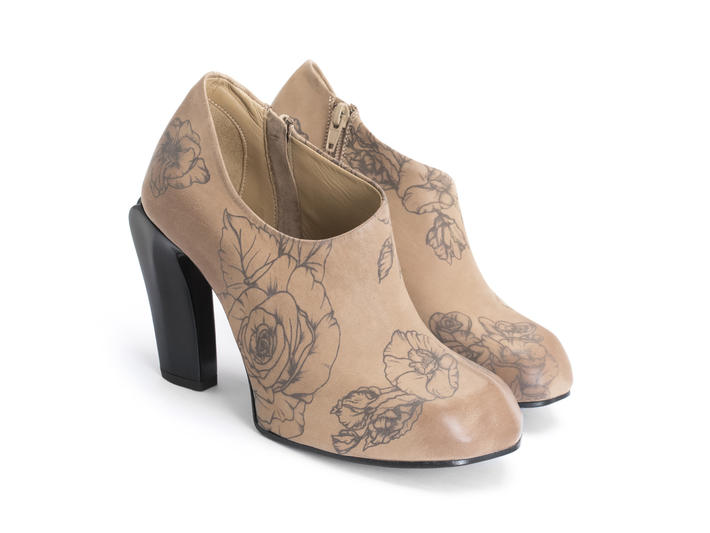 Sable Natural/Tattoo Asymmetric bootie