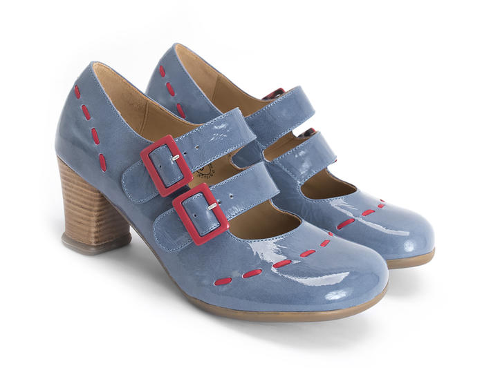 Cavalieri Blue Double strap mary jane