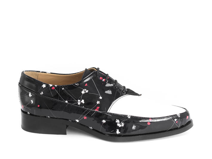 Chalky Black/Floral Printed oxford lace-up