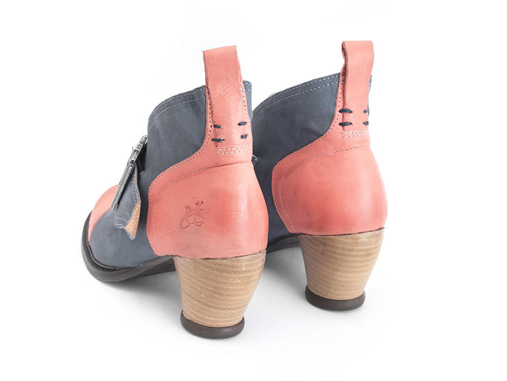 Porter Salmon/Blue Buckled ankle boot