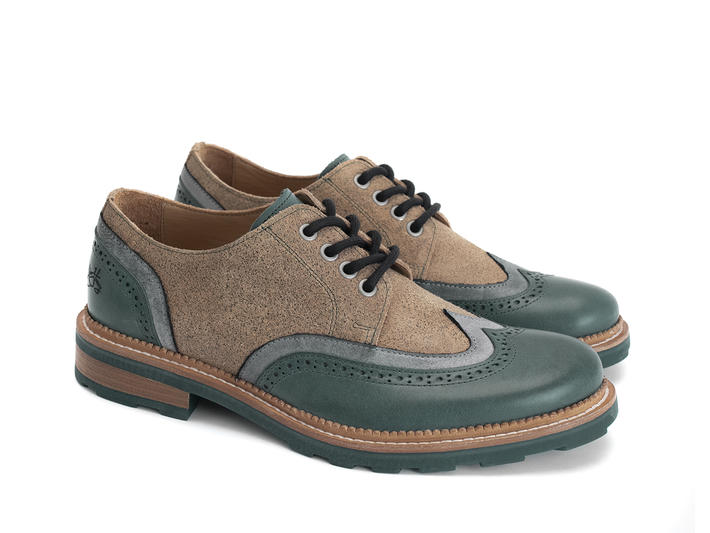 Nathaniel Green/Brown Double wing-tip derby
