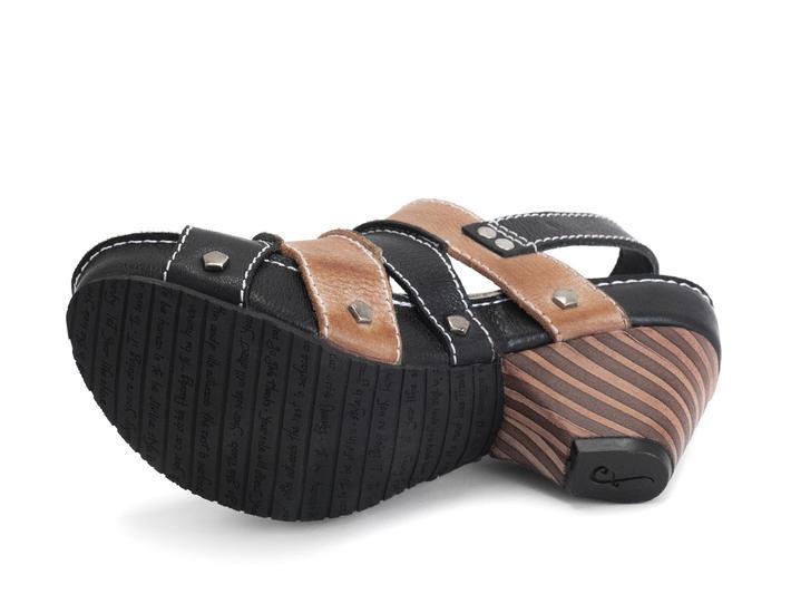 Sophie Natural/Black Contrast slingback sandal