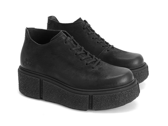 De Vico: Women's Black Platform lace-up shoe