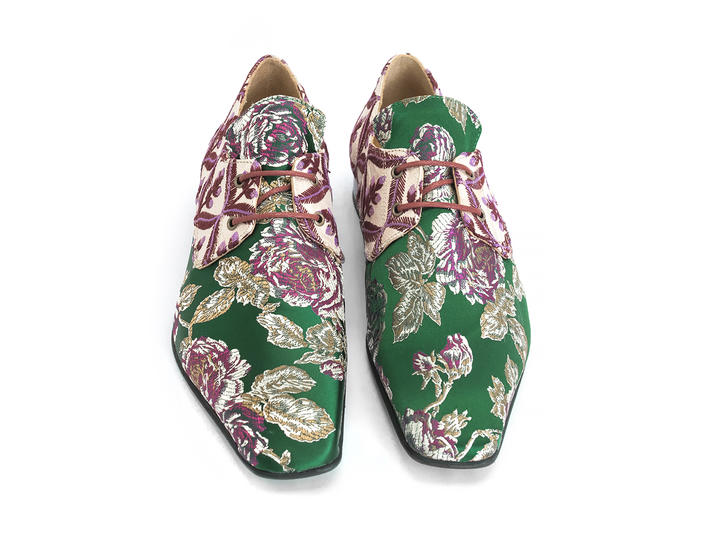 Prysten: Men's Green Floral Jacquard Square toe lace-up shoe