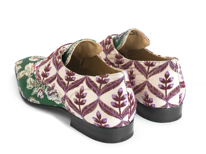 Prysten: Women's Green Floral Jacquard Square toe lace-up shoe
