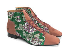 Henley: Women's Green Floral Jacquard Square toe lace-up boot