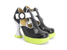 Hana Banana Split Black/White Platform t-strap heel