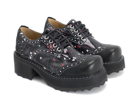 Todne Black/Floral Lace-up platform shoe