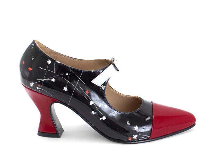 Shiloh Black/Floral elegant mary jane heel