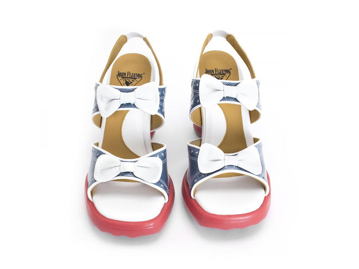 Bips Blue/White Open toe slingback