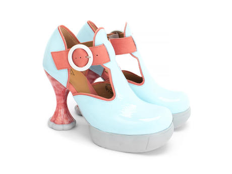 Hana Banana Split Blue/Pink Platform t-strap heel