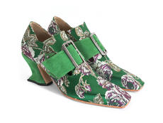 Bishop Green Floral Jacquard Square toe buckled loafer