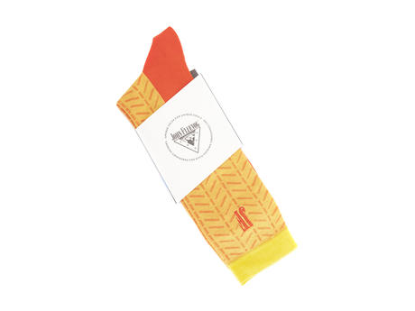Higgins Vog Socks Yellow/Orange Herringbone sock