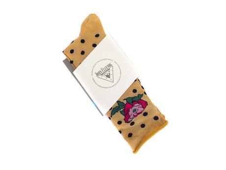 Buttons Vog Socks Yellow Polka dot floral sock