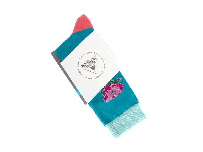 Moo Vog Socks Blue Knit sock with flower