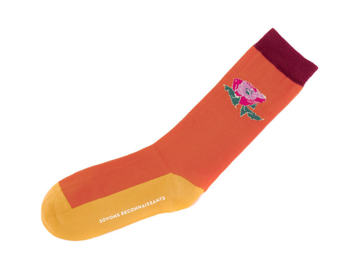 Moo Vog Socks Orange Knit sock with flower