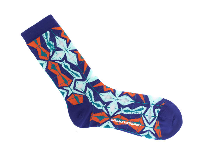 Cerebral Vog Socks Blue/Orange Geometric knit sock
