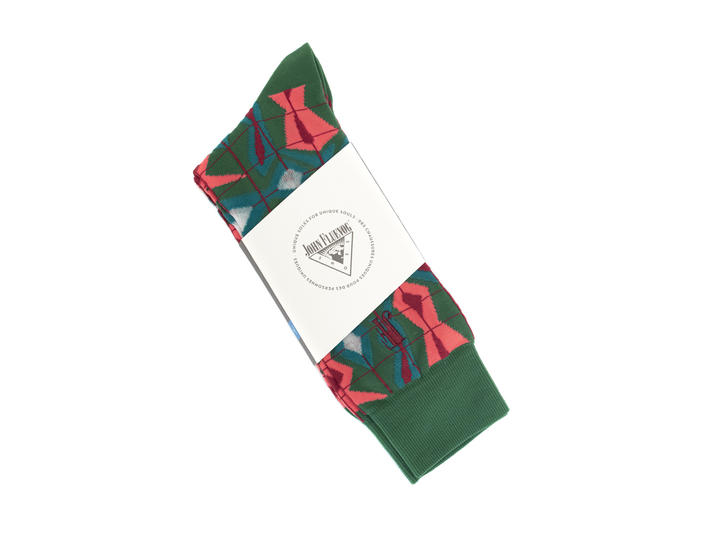 Cerebral Vog Socks Green/Coral Geometric knit sock
