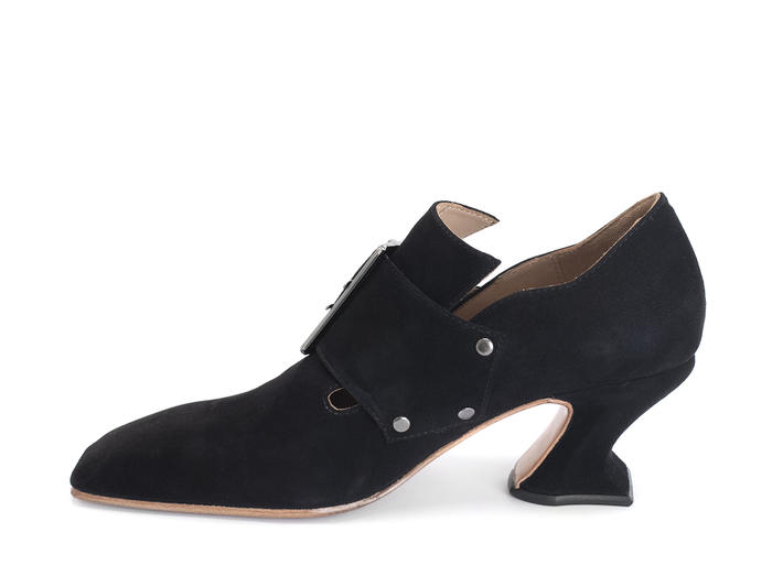 Bishop Black Square toe buckled loafer