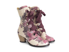 Gladstone Natural/Floral Mid-calf lace-up boot