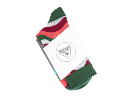 Peggy-Sue Vog Socks Green/Coral Wave patterned sock