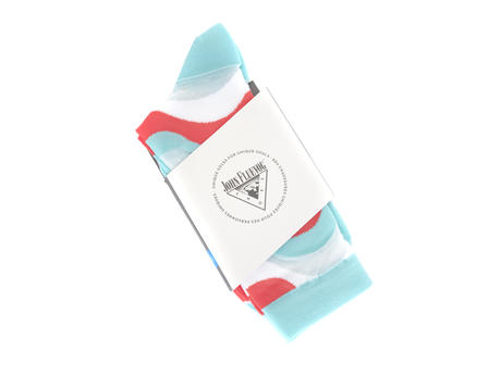 Peggy-Sue Vog Socks Blue/Pink Wave patterned sock