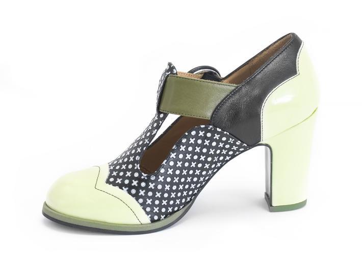Ilona xoxo/Green Contrast t-strap heel