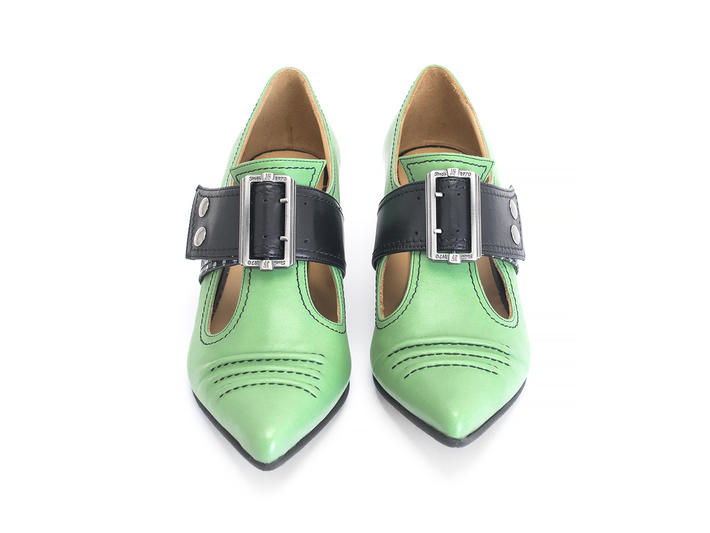 Pilgrim Mint Buckled Victorian loafer