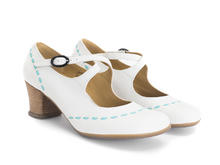 Malibran White Criss-crossed Mary jane Heel