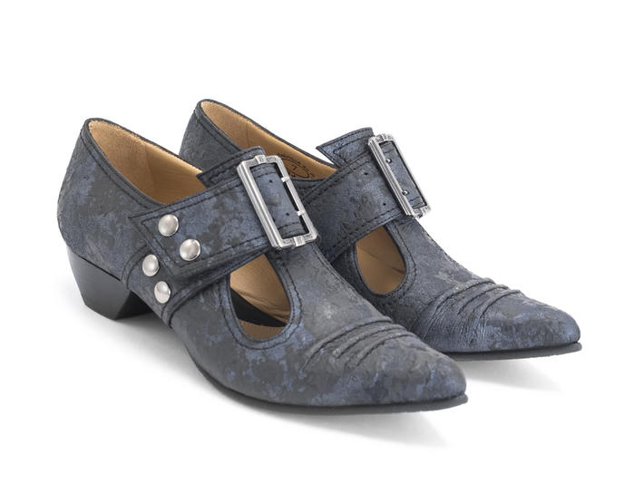 Pilgrim Navy Buckled Victorian loafer