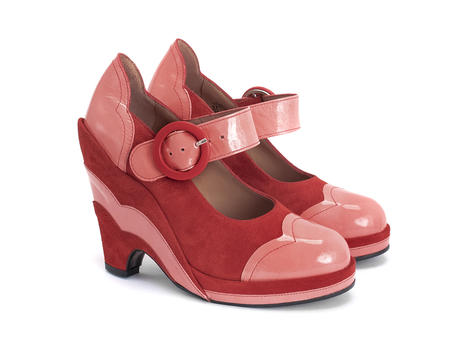 Miss July Pink/Red Scalloped wedge heel