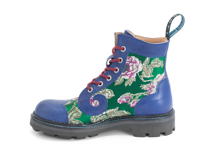 Derby Swirl (6 Eye) Green Floral Jacquard Classic Derby Boot