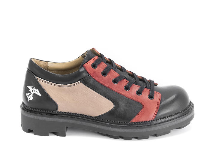 Racer Black/Red Contrast derby lace-up