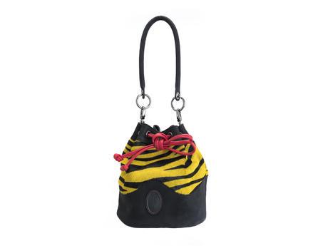 Jocelyn Yellow Tiger Leather bucket bag