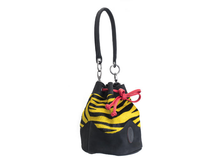 Jocelyn Yellow Tiger Leather bucket bag